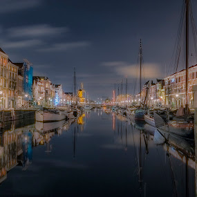 Rotteram Netherlands by Henk Smit - City,  Street & Park  Historic Districts ( water, sky, long exposure, evening, historic )