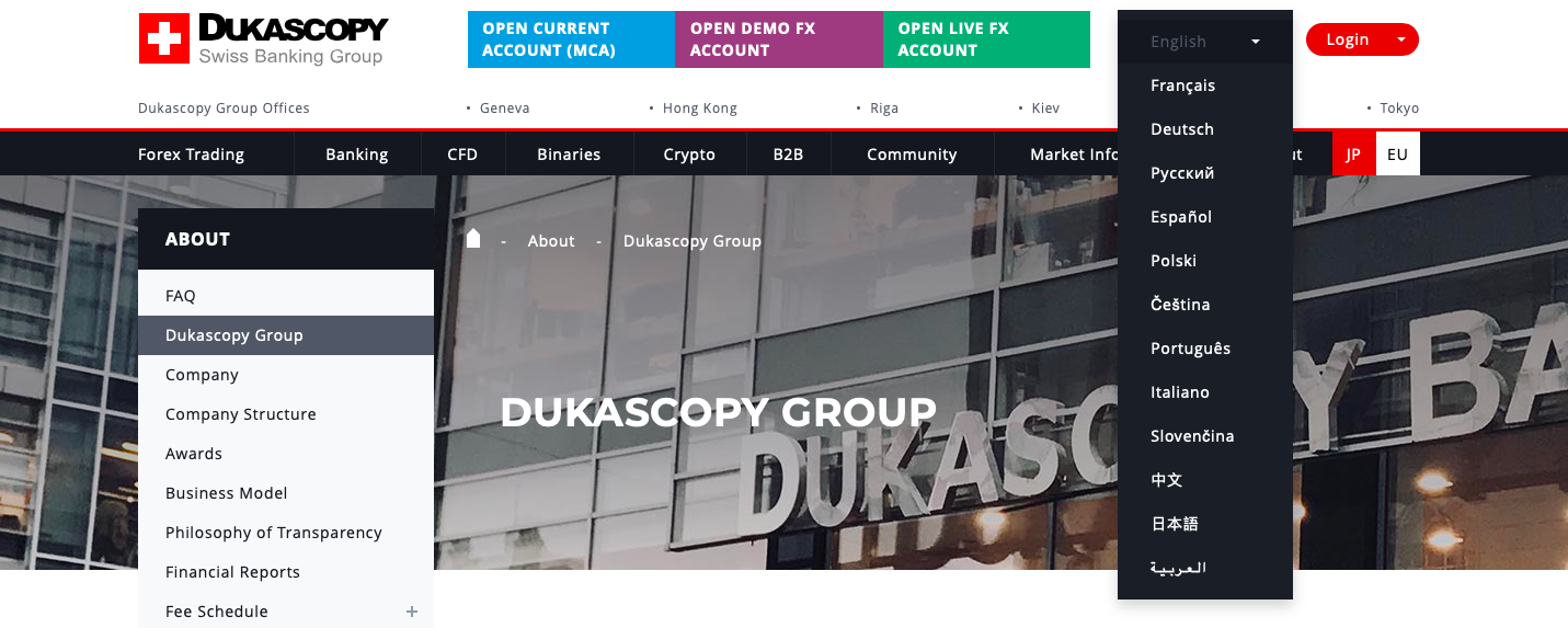 dukascopy website languages