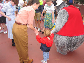 Photo: Day 4 - Richard Josiah got picked to join some dancers and the bears from Bear Jamboree for a square dance. He wasn't so sure about what he thought regarding this experience