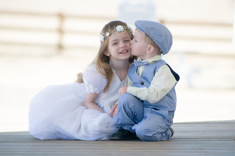 I Love My Sister by Kellie Jones - Babies & Children Children Candids ( light and airy, little boy blue, nanas wedding dress, sister and brother )