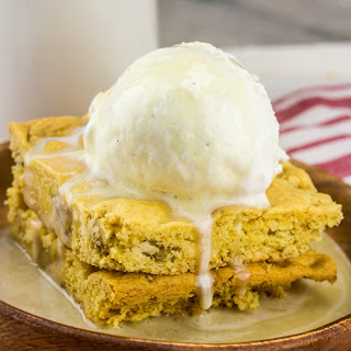 Cake Mix Blondies with Maple Butter Sauce.