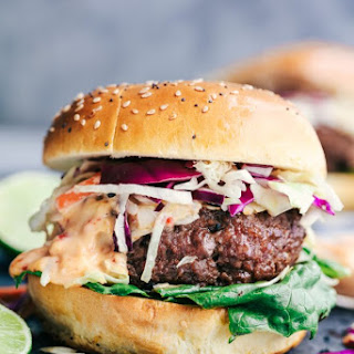 Asian Barbecue Burgers with Sweet Chili Lime Mayo.