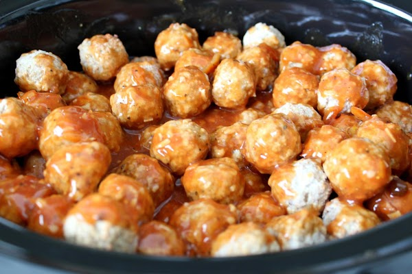 Combine sauce ingredients and pour over meatballs in 5qt or larger Crock Pot.