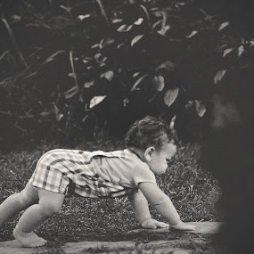 Crawling Child by Maria Lucas - Black & White Portraits & People ( fine art photography, childhood, crawling, black and white, child,  )