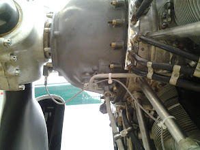 Photo: Accelerometer attached to front of Pratt & Whitney R-1830-92 gearbox