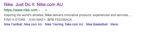 Nike Australia example search result - Hreflang tags