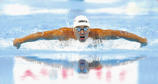 Chad le Clos of South Africa wins his semifinal in the men's 200m butterfly at the world championships in Barcelona last night