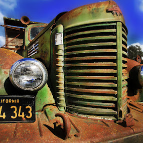 rusty rig by Lee McLaughlin - Transportation Other ( farm, old, truck, wreck, american, green, vehicle, rusty, relic, abandoned )