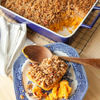 Sweet Potato Casserole with Pecan Praline Topping
