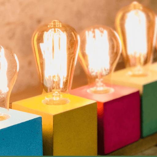 collection lampe cube béton toutes les couleurs