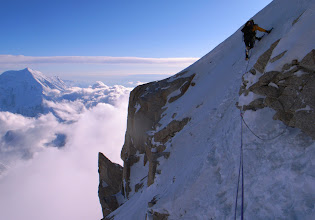 Photo: At the end of difficulties on the Cassin Ridge of Denali, Alaska