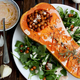 Vegan Roasted Butternut Squash with Chick Peas and Tofu Dip