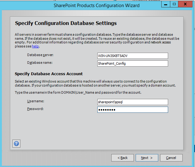 SharePoint 2016 Configuration Wizard - Database Settings