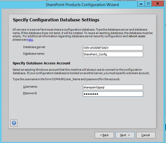 SharePoint 2016 Configuration Wizard - Database Settings