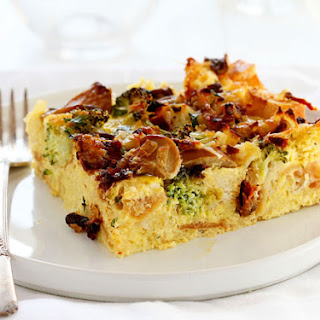 Breakfast Strata (Cheese, Broccoli,and Mushroom Eggbake).