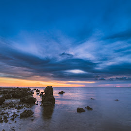 Storms On The Horizon by John Smith - Landscapes Waterscapes ( clouds, forgotten coast, sunset, florida, gulf, beach, rocks )