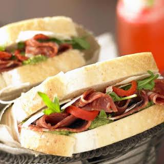 Italian Salami and Pesto Sandwiches.