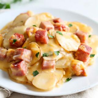 Cheesy Scalloped Potatoes with Ham.