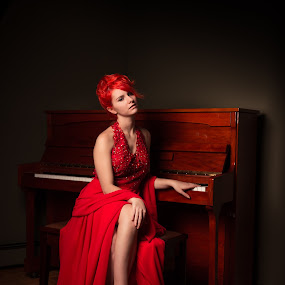 Lady in Red by Claude Lupien - People Portraits of Women ( glamour, fashion, model, sexy, piano, red hair, dress, woman, beautiful, lady, beauty, red dress, portrait,  )