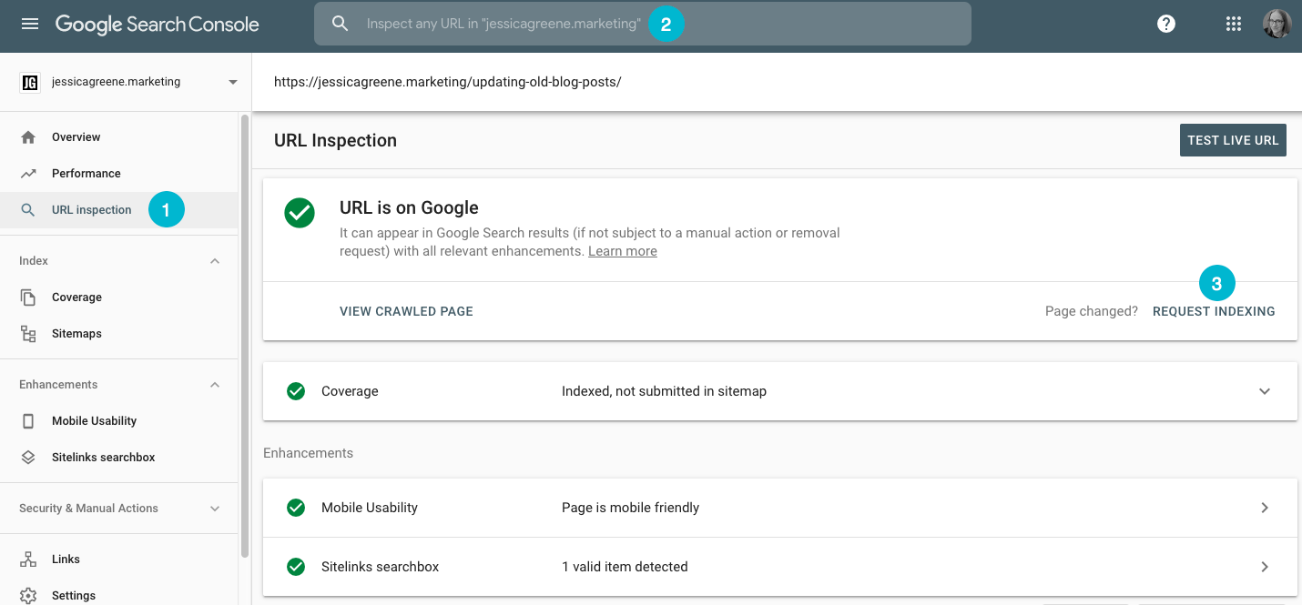 how to submit a page for indexing in google search console