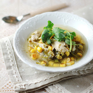 Roasted Corn, Chicken and Coriander Soup