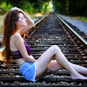 Lazy Summer Nights in the Country by Billy Morris - People Portraits of Women ( model, railroad tracks, summer nights, rural town, country )