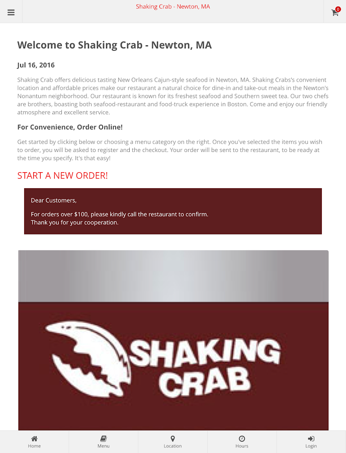 Shaking Crab - Newton, MA- screenshot