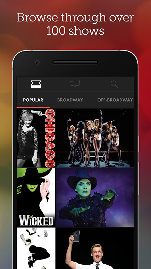 Broadway.com - Tickets & News- หน้าจอ