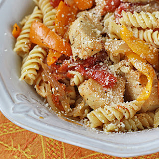 Chicken with Peppers and Pasta.
