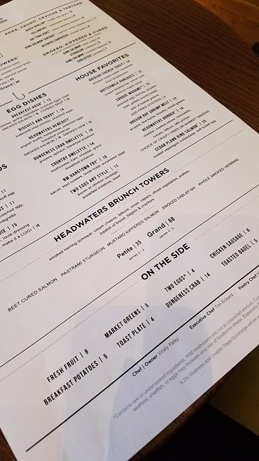 Headwaters Brunch Tower menu option