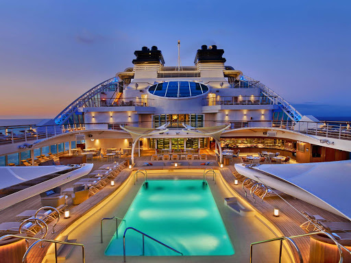 Seabourn Encore's elegantly designed pool deck. Sister ship Seabourn Ovation will have the same look when she debuts in 2018.