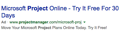 Microsoft Project Online Bing ad example
