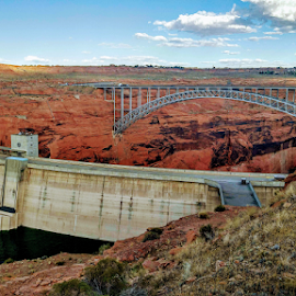 Glen Canyon by Danny Lapierre - Buildings & Architecture Bridges & Suspended Structures ( sky, dam, canyon, rocks, bridge, water,  )
