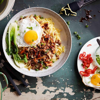 Asian Beef Mince Noodle Bowl with Fried Egg Recipe