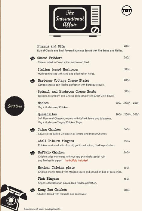 The Bar Tales menu 11