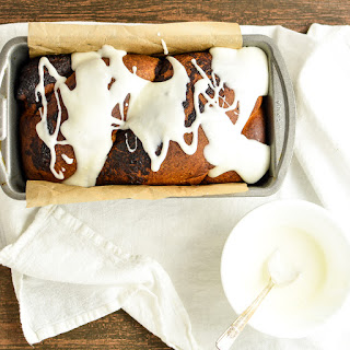 Chocolate Hazelnut Babka with Cream Cheese Glaze.