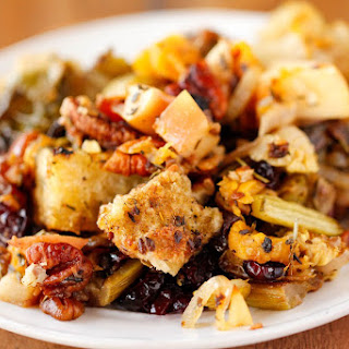 Holiday Stuffing with Butternut Squash, Brussels Sprouts, and Apples