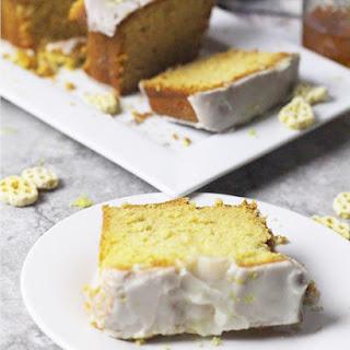 Honeycomb Cereal Pound Cake with Honey Lemon Glaze.