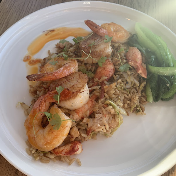 Shrimp & Scallops over lobster fried rice