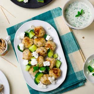 Greek Chicken Meatballs and Yogurt Dill Sauce.