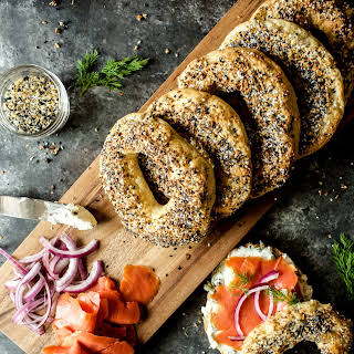 Everything Bagels with Lox and Caper Cream Cheese.