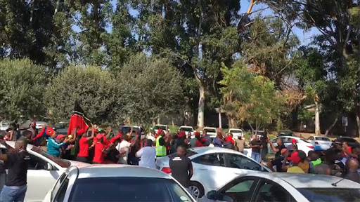 The Economic Freedom Fighters led the Bolt protest to the e-hailing company's Sandton headquarters.