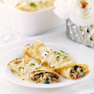 Herbed Crepes with Rice, Mushrooms and Kale