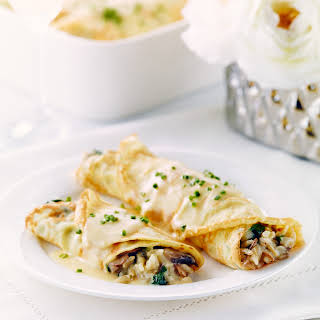 Herbed Crepes with Rice, Mushrooms and Kale.