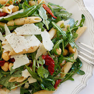 Arugula Salad with Penne, Garbanzo Beans and Sun Dried Tomatoes.