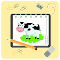 how to draw cow - drawing lessons step by step icon
