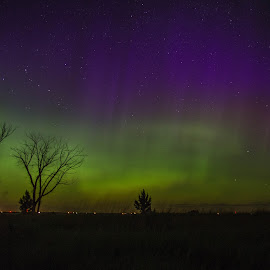 After Midnight by Laura Gardner - Novices Only Landscapes ( lake sakakawea state park, god's country, nd, outdoors, northern lights, dark )