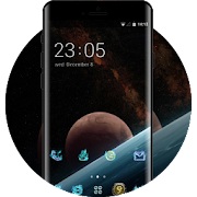 Space galaxy theme wallpaper planets slope stars icon