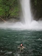 Photo: Vanessa loves the pounding waterfall