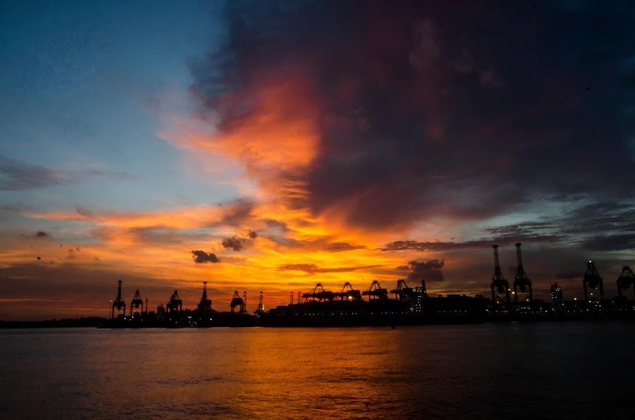 sunset by Mike Minato - Landscapes Sunsets & Sunrises ( work, sunset, place )
